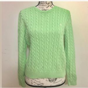 Long Sleeve Cableknit Pullover Sweater Crewneck M